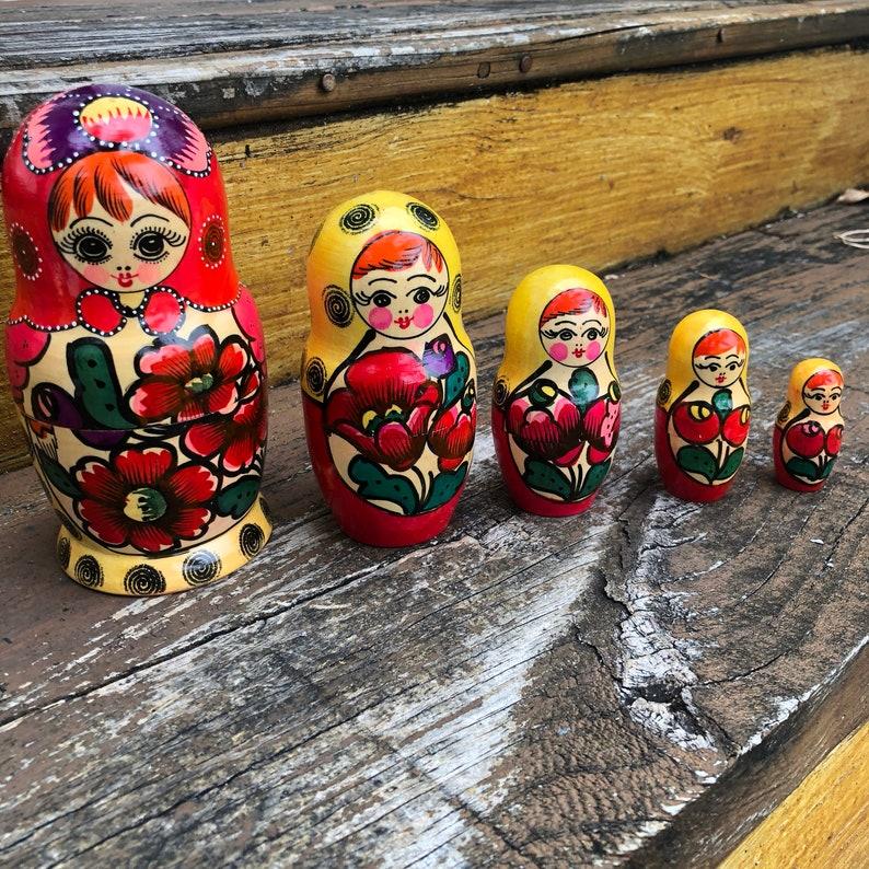 5PCS Hand Painted Skeleton Wooden Russian Nesting Dolls Matryoshka Babushka New