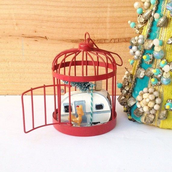 Mini Christmas Red Birdcage With Snow Deer Christmas Tree Etsy