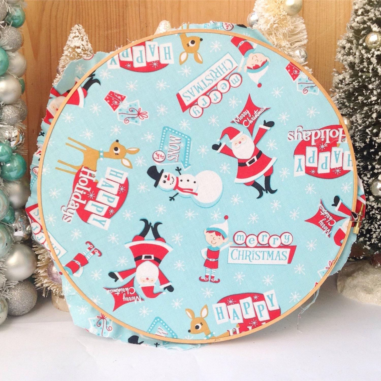 Kitschy Christmas red Santa Claus sniwman reindeer aqua fabric | Etsy