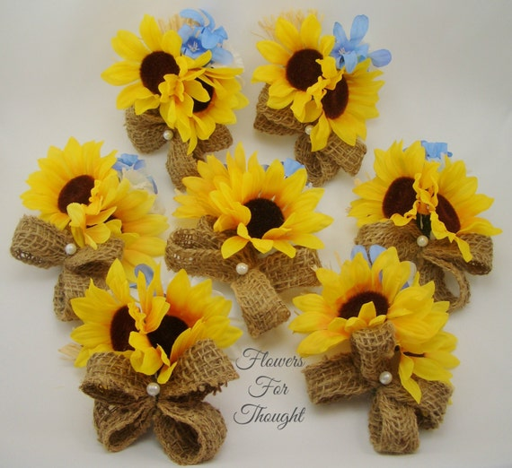 Sunflower Corsage With Burlap And Straw Rustic Summer Or