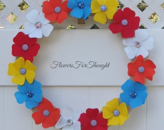 Colorful Felt Flower Wreath, Front Door Decoration, Burlap and Fabric Button, Cheerful Home Decor