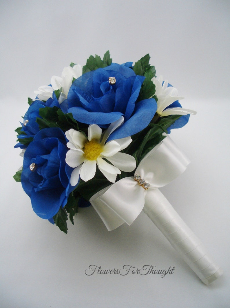 Roses Blue and White Wedding Bouquet with Rhinestones white Chasta daisies