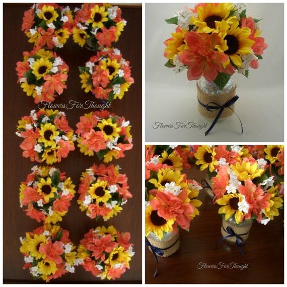 Wedding Centerpieces Ideas Without Flowers: Sunflower Wedding Table Arrangement In Burlap Mason Jar