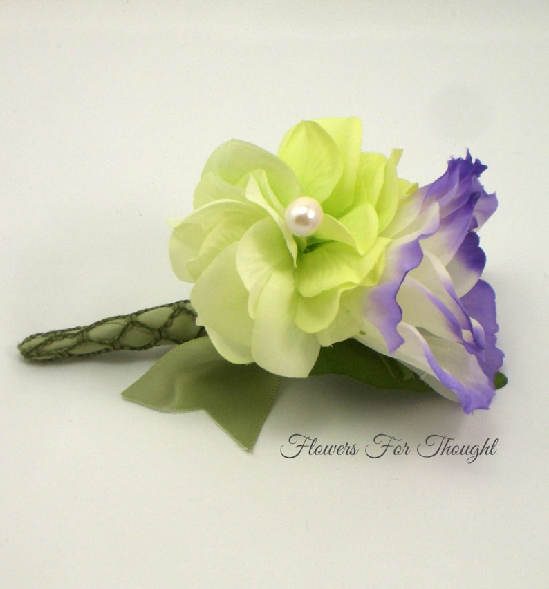 Purple and Green Boutonniere Wedding Flowers Lisianthus and Hydrangea