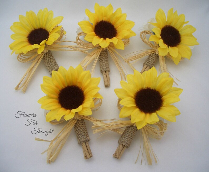 Rustic Sunflower Burlap Boutonniere with Straw Bow 1 Lapel Pin made to order Groomsmen Wedding Flowers