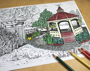 Printable Coloring Page Single From My Fathers GardenNJ Book Sunday Afternoon Gazebo Landscape Drawing