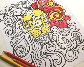Printable Coloring Page . Adult Coloring . Young Adult Coloring . Lion Face . Digital Download . Color Way Coloring Book