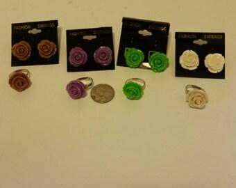 Resin flower ring and earring set