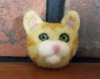 Brooch Pin Needle Felted Wool Cat
