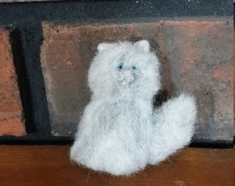Persian Cat Pin Brooch Accessory Needle Felted Wool