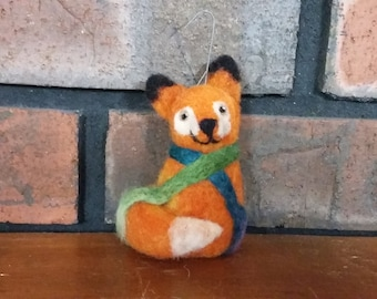 Fox Christmas Ornament Needle Felted