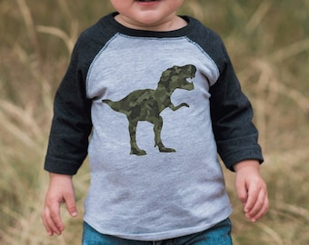 7 ate 9 Apparel Kids Green Camo Dinosaur Grey Raglan