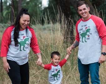 Dinosaur Family Christmas Pajamas - Dino Matching Christmas Shirts for the Whole Family - Men's, Women's, Youth, Toddler, Infant - Red