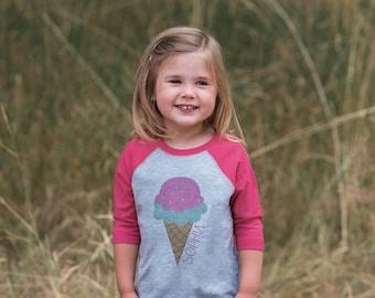 Ice Cream Cone Outfit - Girls Birthday Tshirt - Pink Raglan Shirt - 1st Birthday Raglan Tee for Baby Girls - Custom Ice Cream Shirt