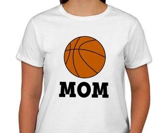 Basketball Mom Shirt - Ladies Basketball Top - Mom Basketball Party Shirt - Matching Family Basketball Birthday Party Shirts - White T-shirt
