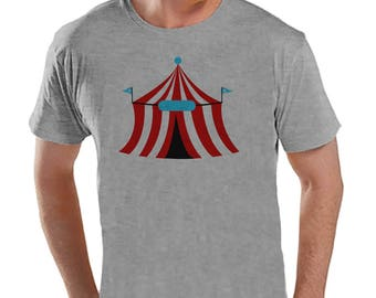 Circus Shirt - Mens Carnival Top - Circus Tent Shirt - Grey T-shirt - Men's Shirt - Carnival Birthday Party Outfit - Carnival Party Shirt