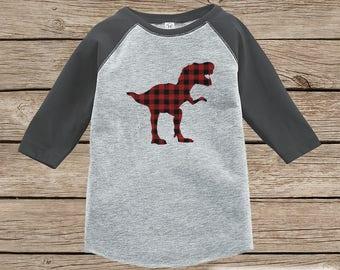 ae57b18acff890 Boys Dinosaur Shirt - Plaid Dino Shirt - Plaid Dinosaur Shirt - Toddler  Youth Kids Dino Shirt - Grey Raglan - Dinosaur Outfit