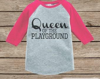 Girls School Outfit - Queen of the Playground Tshirt - Pink Raglan -  Humorous Kids Tee - Kindergarten 93dbff8b7f91c