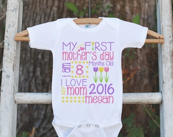 b347df4e Girl's My First Mother's Day Outfit - Happy Mother's Day Onepiece or Tshirt  - Personalized Baby Girl's Outfit - Happy First Mothers Day Gift