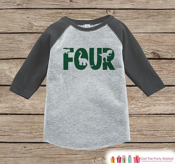 Dinosaur Birthday Shirt Boys Fourth Dino Tshirt