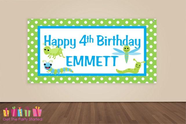 HAPPY BIRTHDAY Banner, Bugs Birthday Decorations, Bug Party Backdrop, Insect Birthday Party Banner, Boys Birthday, Aqua & Green Vinyl Banner
