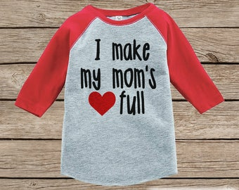 Kids Mother's Day Outfit - I Make My Mom's Heart Full  Tshirt - Happy Mothers Day Boy or Girl Red Raglan Tee - Newborn Gift Idea