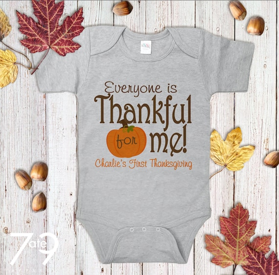 142fa07a First Thanksgiving Outfit - Thankful For Me Thanksgiving Onepiece or Shirt  - Pumpkin Outfit - First Thanksgiving Outfit for Baby Boy or Girl