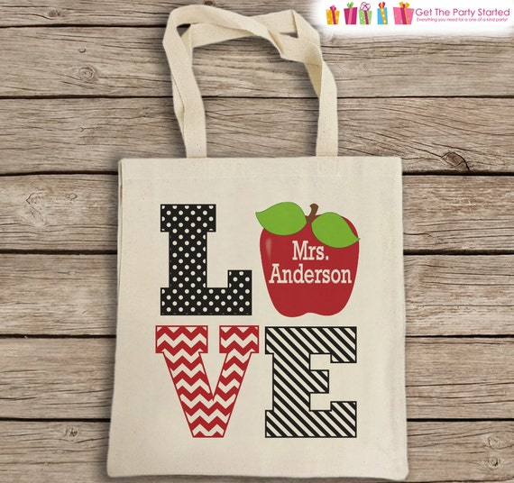 Natural Cotton Canvas Tote Bag Teacher Tote Bag LOVE Apple  df1836f225665