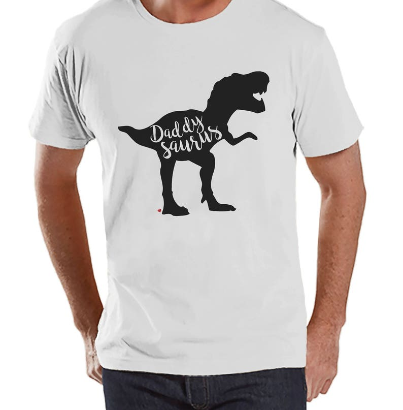 b5d4c09df79830 Daddysaurus Shirt Mens White T-shirt Mens Dinosaur Shirt