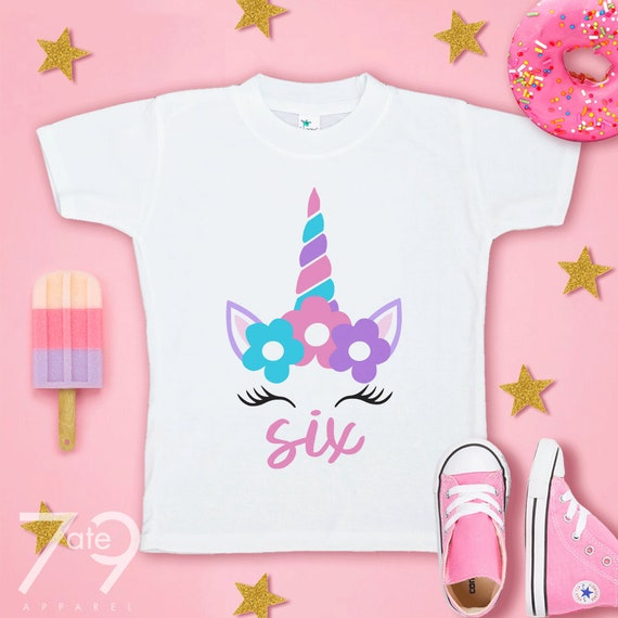 6th Birthday T-shirt Unicorn Kids T Shirts