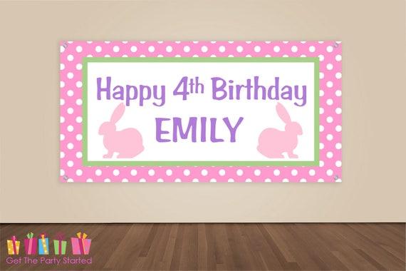 Party Banner Rabbit Party Backdrop Pink Bunny Birthday Decorations HAPPY BIRTHDAY Banner Vinyl Banner Girls Birthday Party