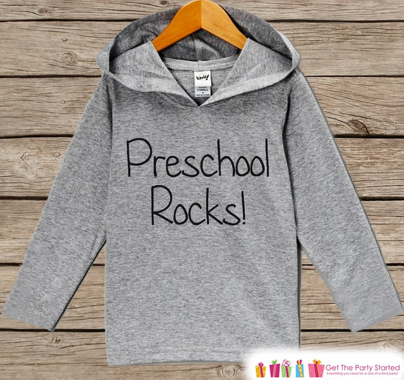 Preschool Rocks Hoodie Kids My 1st Day of School Shirt Kids Preschool Outfit Back to School Top for Boys or Girls Kids School Hoodie