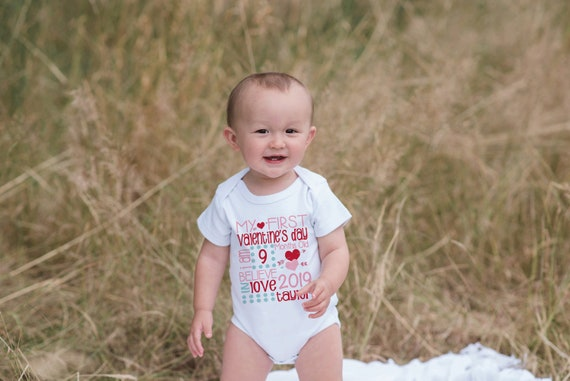 4ea93e5b3 First Valentine's Day Outfit - Personalized Valentine Onepiece - Baby's  First Holiday - Kids 1st Valentines Day Stat Bodysuit for Baby Girls