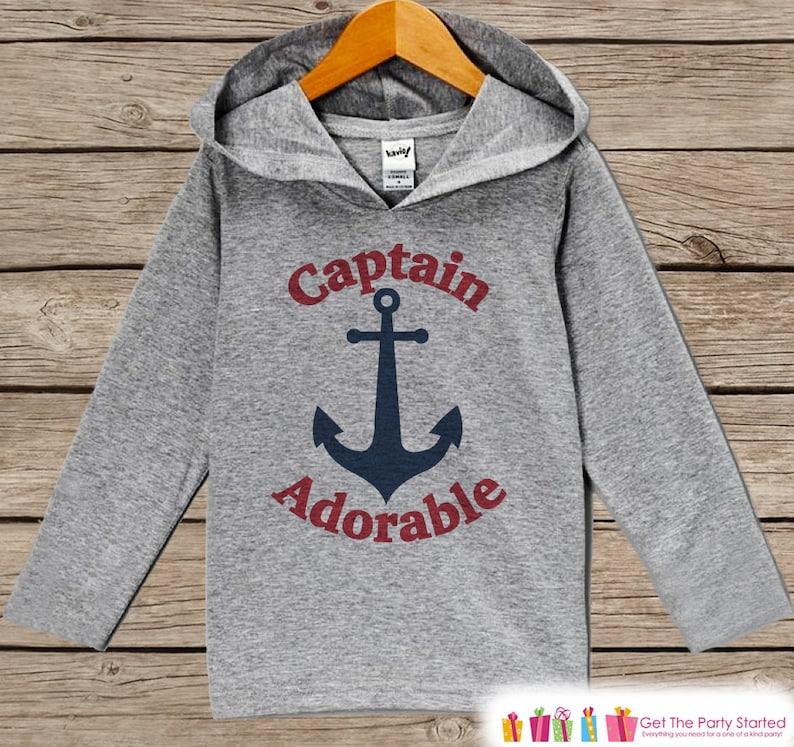 Boys Hoodie Pullover Top Kids Hoodie Kids Hoodie Grey Toddler Hoodie Nautical Shirt Nautical Pullover Captain Adorable Outfit