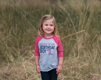 Girls Dinosaur Shirt - Sister of the Birthday Boy Dino Shirt - Dinosaur Pink Raglan Shirt - Girls Baseball Tee