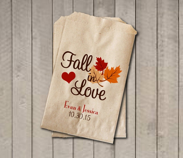 Wedding Favor Bags Fall In Love Favor Bags Personalized Etsy