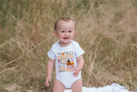 bc3a55a35 First Thanksgiving Outfit - Baby, Newborn, Infant Onepiece or Shirt - Baby's  1st Thanksgiving Stat Bodysuit- Baby Boy or Girl Turkey Top