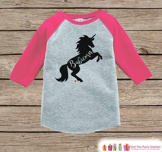 38c4332fa Baby Unicorn Shirt - Babicorn Shirt - Funny Baby Unicorn Shirt - Girls  Tshirt - Sibling Shirts, Kids, Toddler, Youth Pink Raglan