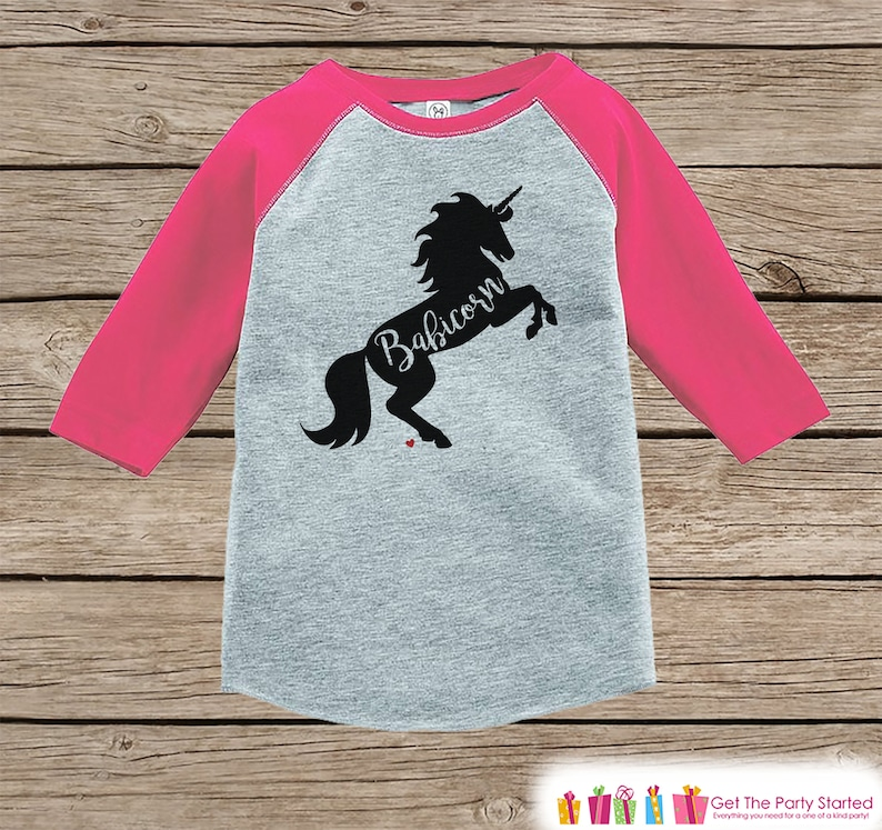 7 ate 9 Apparel Girls Valentines Day Unicorn Pink Baseball Tee