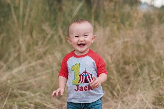 816d4c368 Boy's Birthday Outfit - Circus Birthday Shirt - Tshirt - First Birthday  Outfit - Red Raglan Birthday Shirt - 1st Birthday Top