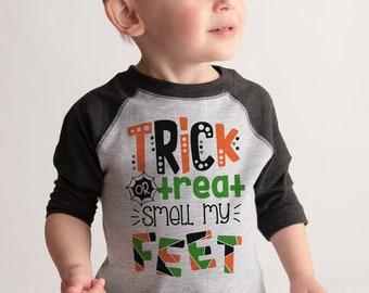 Kids Halloween Shirt - Girls or Boys Trick or Treat Halloween Tee - Grey Raglan Tshirt - Happy Halloween - Baby, Toddler Halloween Costume