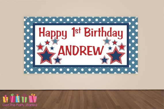 HAPPY BIRTHDAY Banner 4th Of July Birthday Decorations Patriotic Party Backdrop Military Star Fourth Vinyl