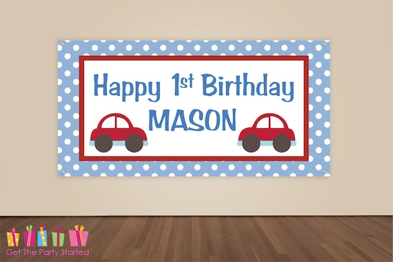 HAPPY BIRTHDAY Banner Cars Birthday Decorations Car Party Backdrop Boys Transportation Vinyl