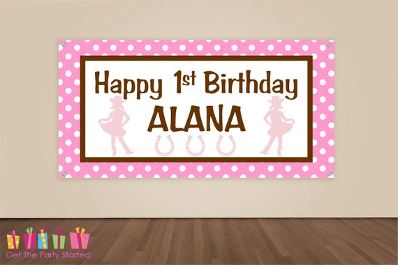 HAPPY BIRTHDAY Banner, Pink Cowgirl Birthday Decorations, Cowgirl Western Party Backdrop, Party Banner, Girls Birthday Party, Vinyl Banner
