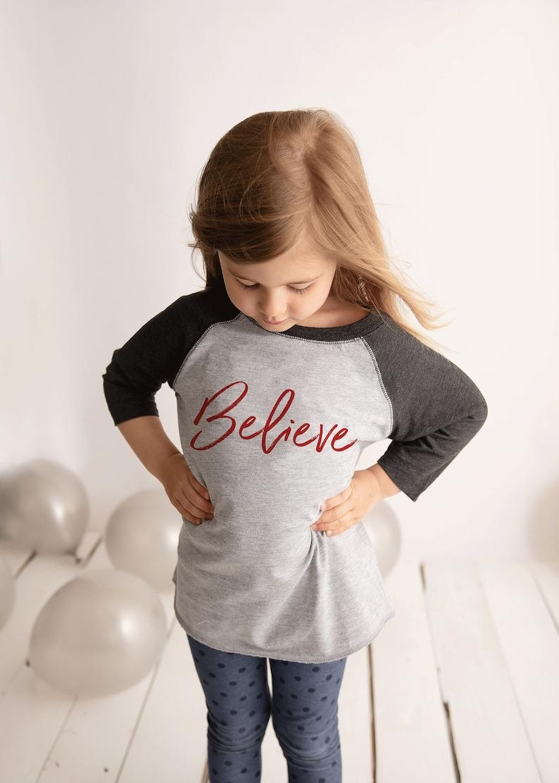 2a06bcd6def4f Kids Christmas Shirt - Believe Holiday Shirt - Boys or Girls Merry  Christmas T-shirt - Toddler, Youth Grey Raglan - Religious Shirt