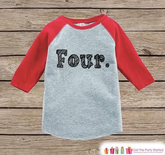 0883ebc6d Four Year Old Birthday Shirt - Boy or Girl Birthday Shirt - Kids 4th  Birthday Outfit - Fourth Birthday Red Raglan Tee - Four Shirt - Sketch