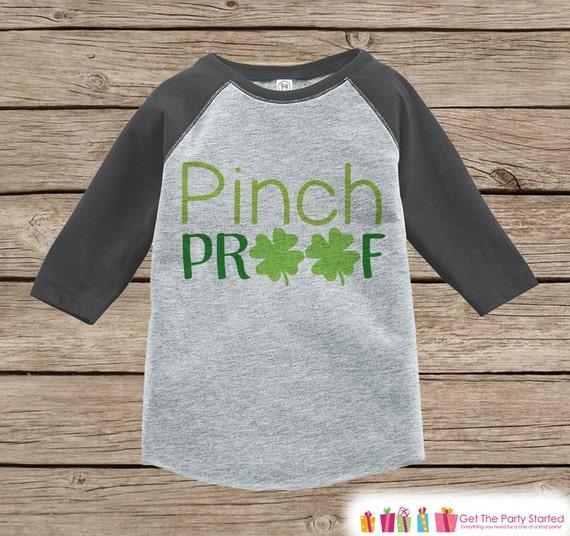 71cbef46 Boys St Patricks Day Outfit - Grey Raglan Shirt - Funny Pinch Proof ...