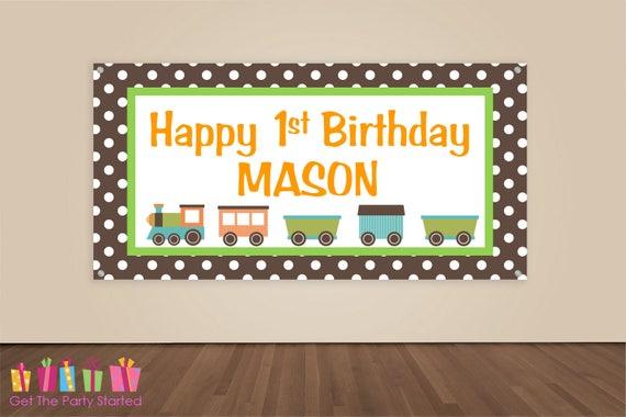 HAPPY BIRTHDAY Banner, Train Birthday Decoration, Train Party Backdrop, Birthday Party Banner, Boys Birthday, Vinyl Banner, Brown Orange
