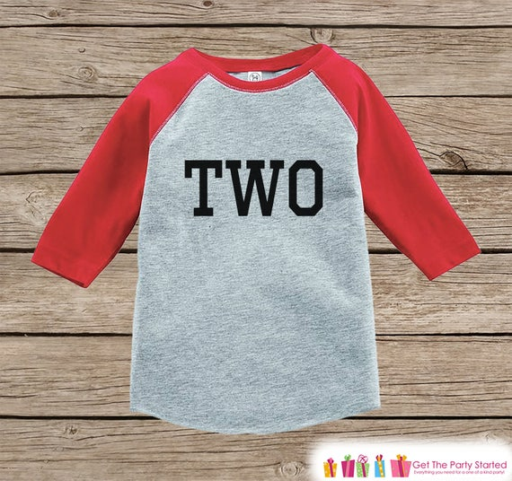 aab9ff4b5 Two Year Old Birthday Shirt - Boy or Girl Birthday Shirt - Kids 2nd  Birthday Outfit - Second Birthday Red Raglan Tee - Two Shirt - Sporty