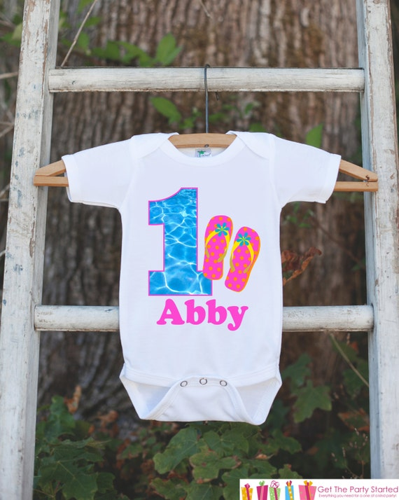 a06066200e56 Pool Party Onepiece Bodysuit - First Birthday Bodysuit - Personalized Pool  Party Outfit with Baby Girl s Name and Age and Flip Flop Sandals